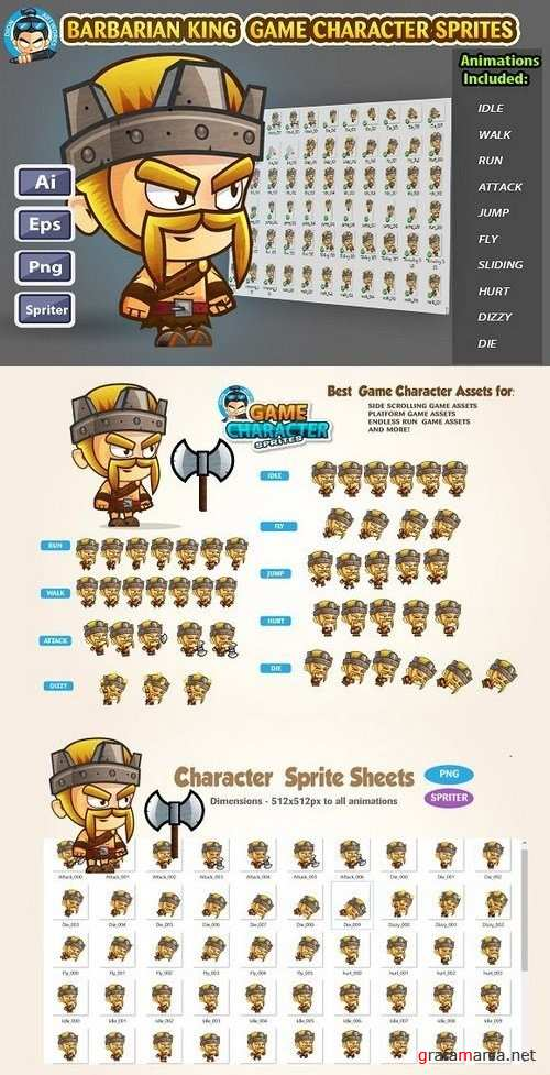 Barbarian King Game Character Sprite 1232102