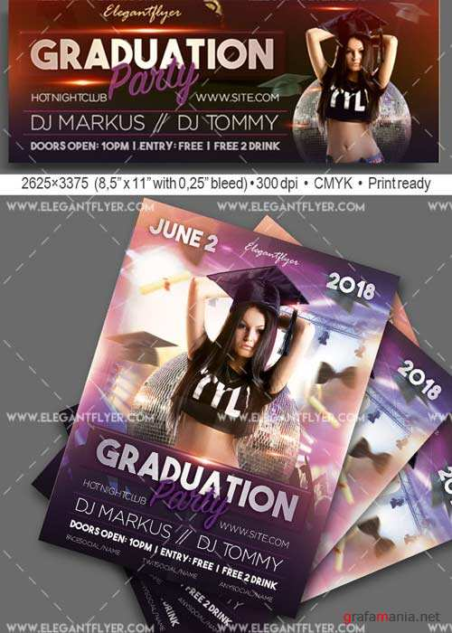 Graduation Party V3 Flyer PSD Template + Facebook Cover