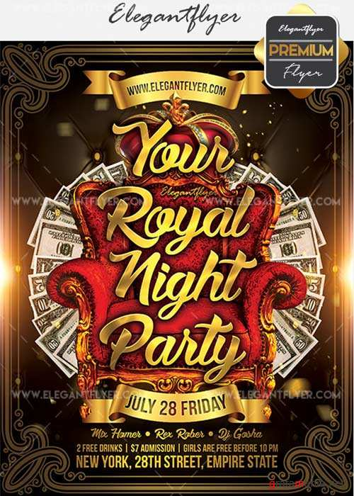 Your Royal Night Party V9 Flyer PSD Template + Facebook Cover