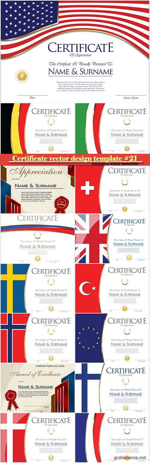 Certificate and vector diploma design template #21
