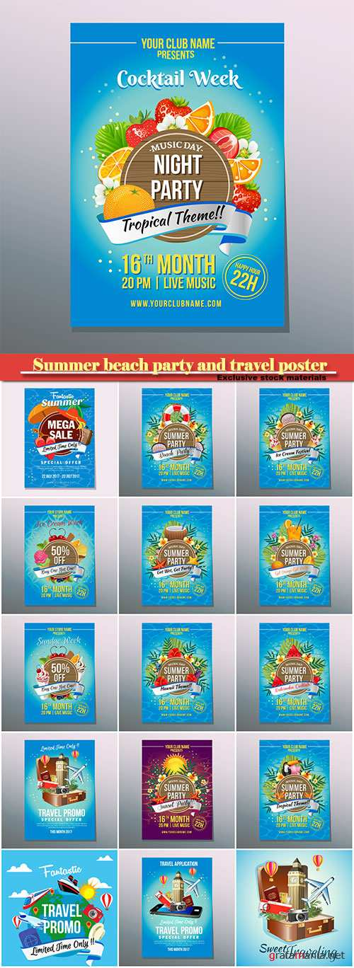 Summer beach party and travel poster vector