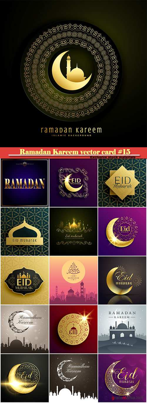 Ramadan Kareem vector greeting card, islamic background #15