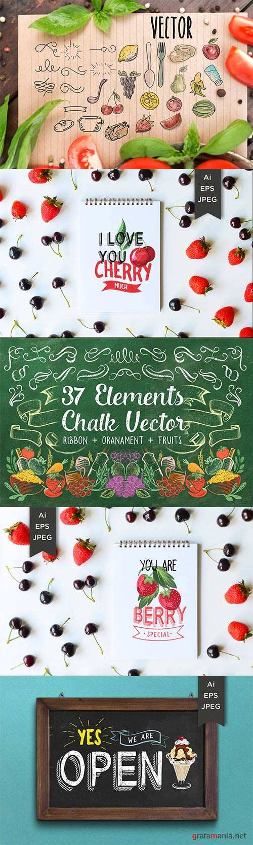 Drawing vector decorative ribbons, banners, vegetables and fruits