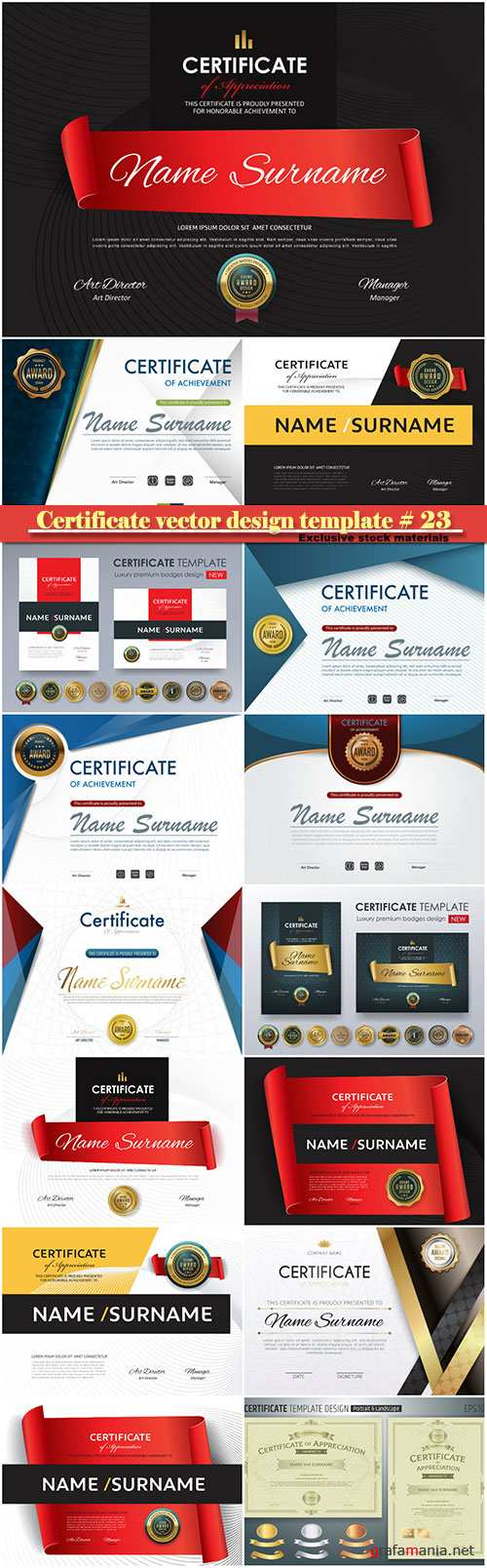Certificate and vector diploma design template # 23