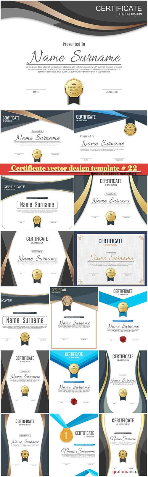 Certificate and vector diploma design template # 22