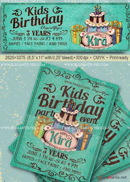 Kids Birthday Party V29 Flyer PSD Template + Facebook Cover