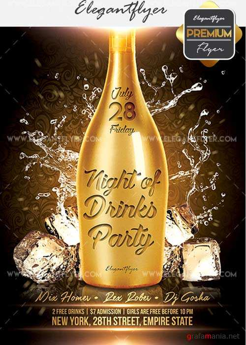 Night of Drinks V19 Flyer PSD Template + Facebook Cover