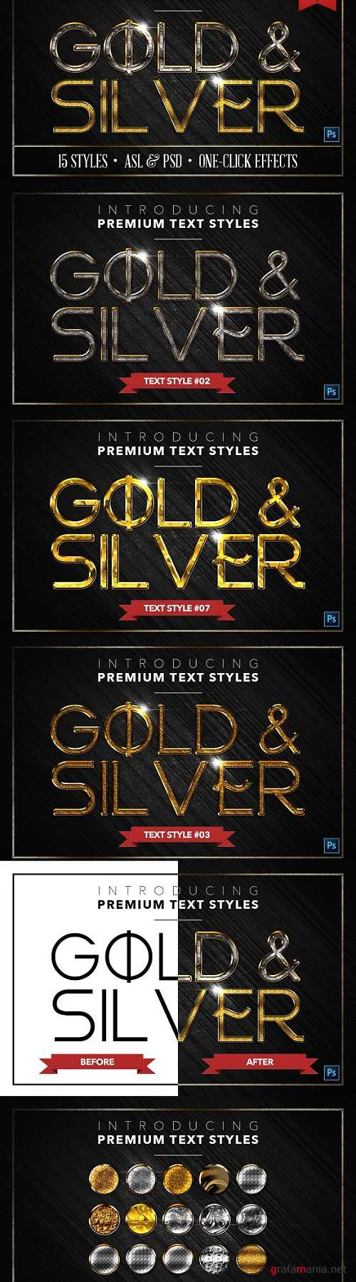 Gold & Silver #5 - 15 Text Styles