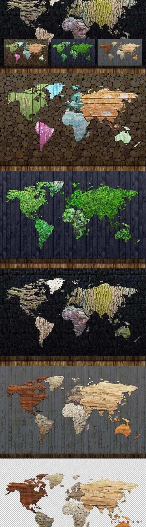 Wooden World Map Extended License 1285039