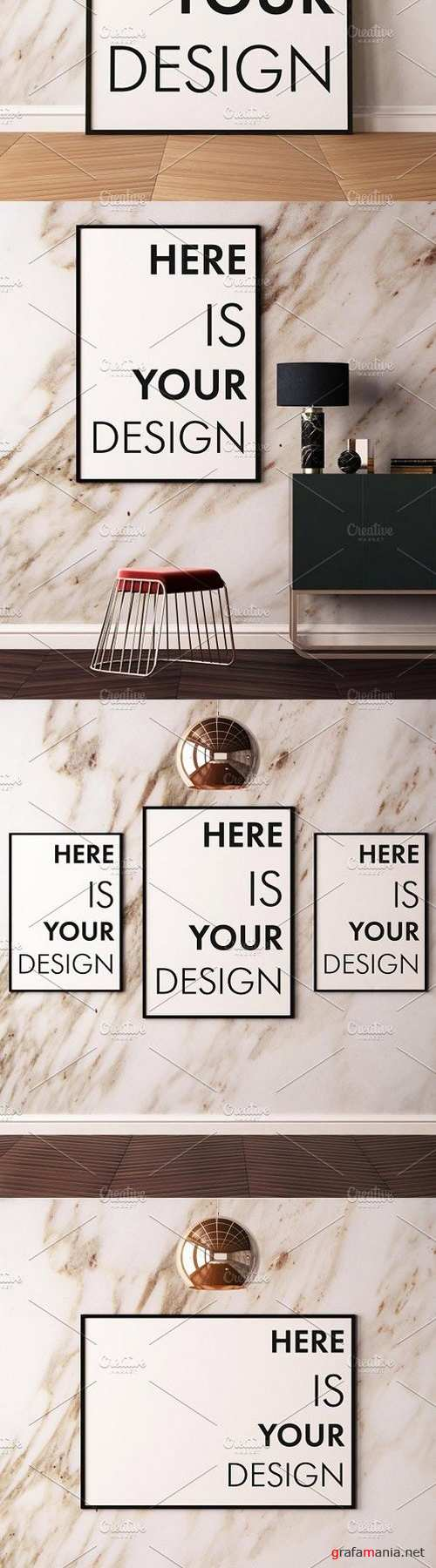 Mockup posters on a marble wall 1518244