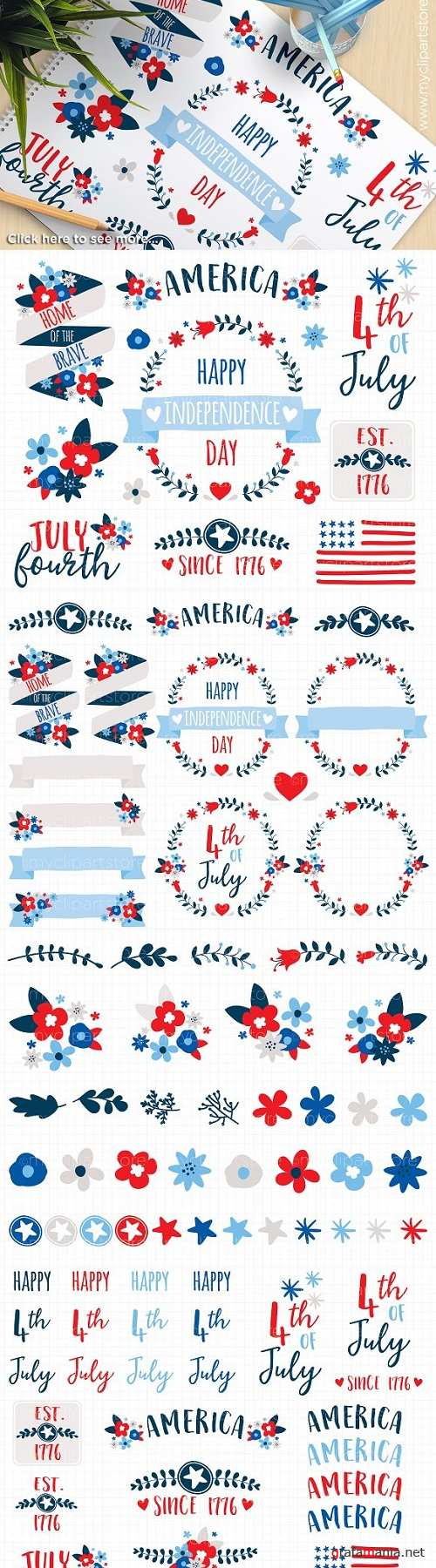 4th July Flowers & Wreaths Clipart - 879156