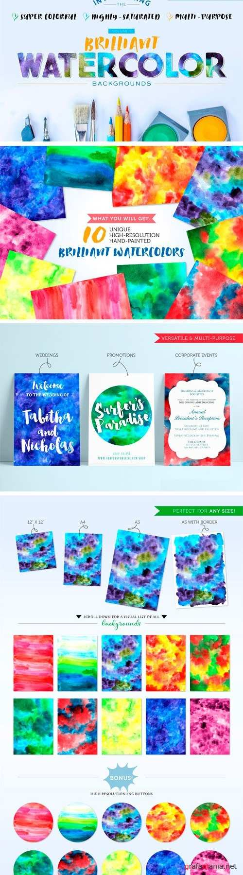 Bright Watercolor Backgrounds Vol.1 - 1532077