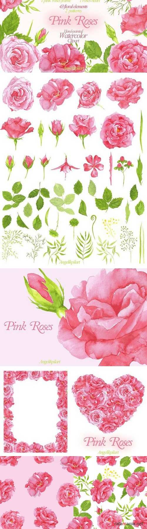watercolor Pink Roses clipart 1522731