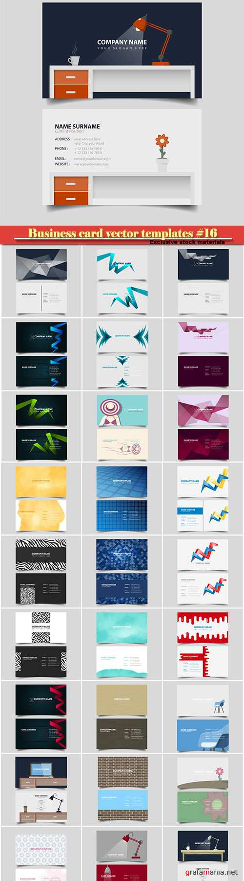 Business card vector templates #16