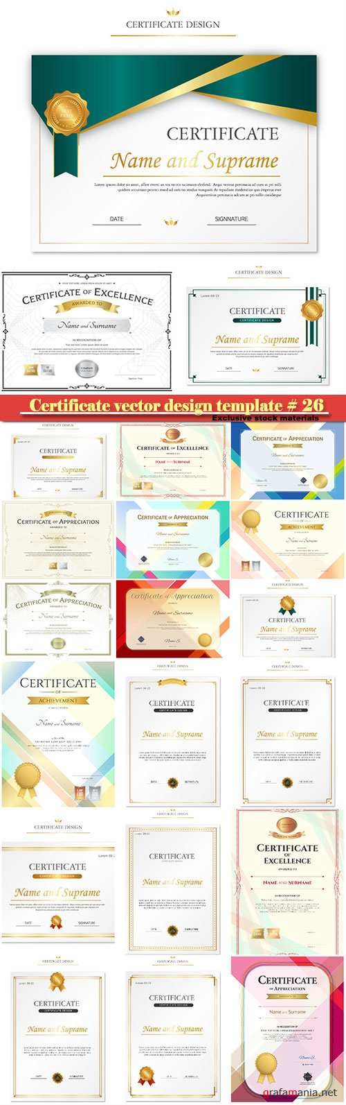 Certificate and vector diploma design template # 26