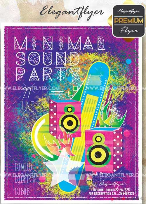 Minimal Sound Party V27 Flyer PSD Template + Facebook Cover