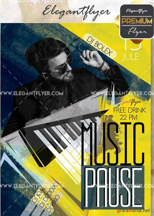 Music Pause Party V18 Flyer PSD Template + Facebook Cover