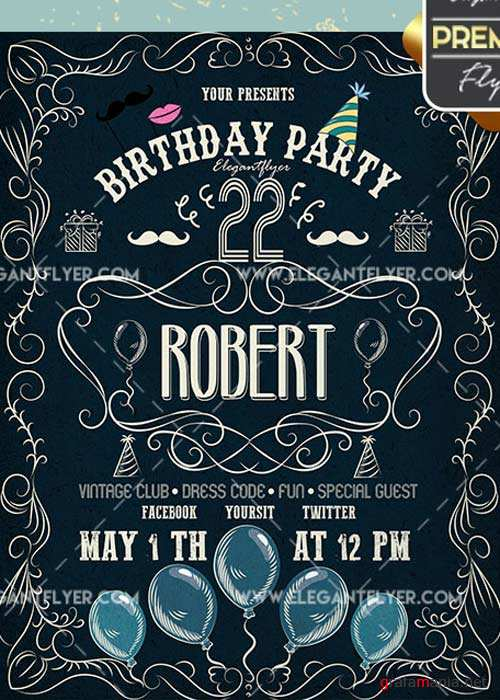 Birthday Party V42 Flyer PSD Template + Facebook Cover
