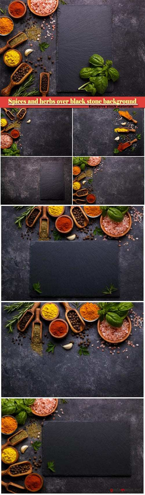 Spices and herbs over black stone background, top view with free space for menu or recipes