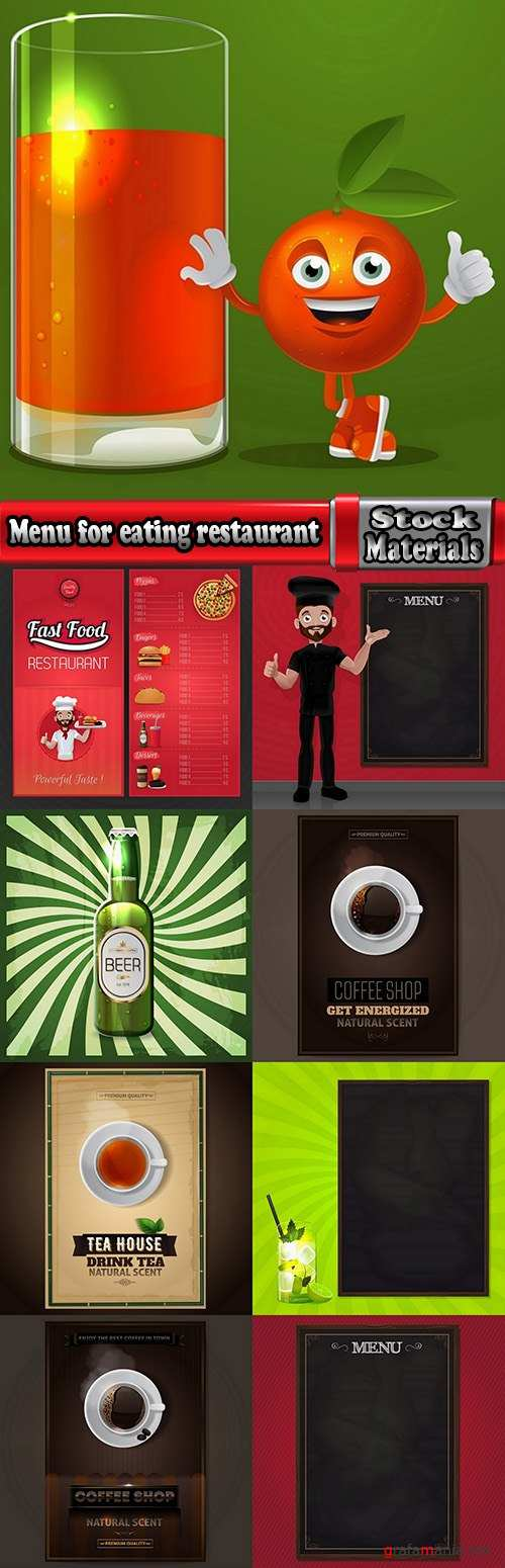 Menu for eating restaurant coffee barbecue cover booklet banner postcard 9 EPS