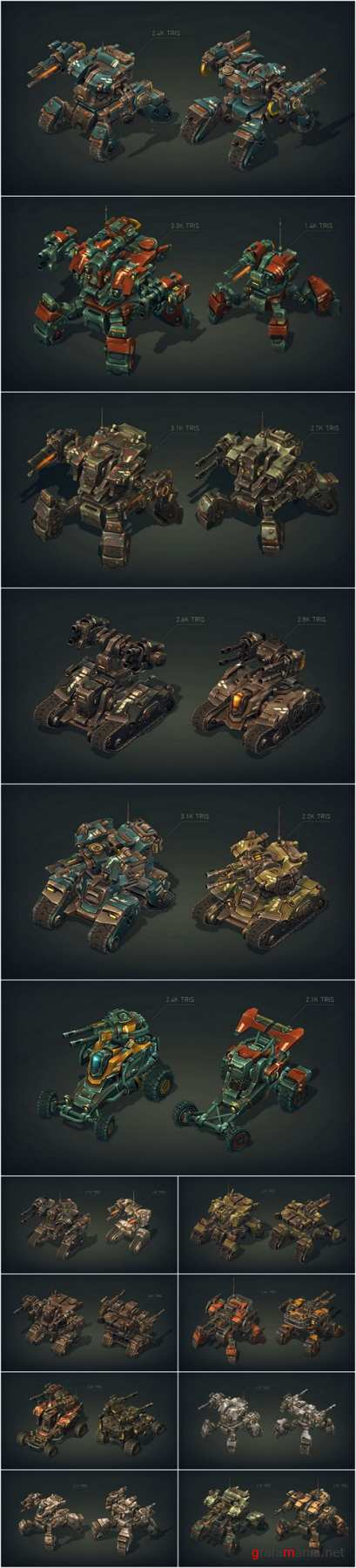 Mech Constructor Spiders and Tanks 3D Models