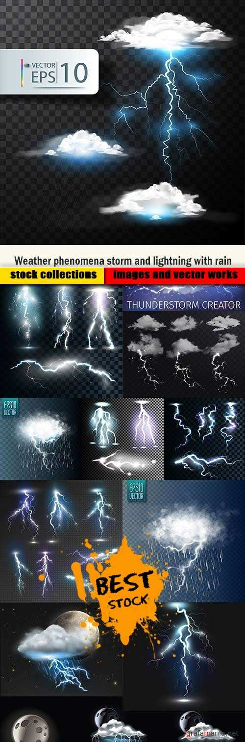 Weather phenomena storm and lightning with rain