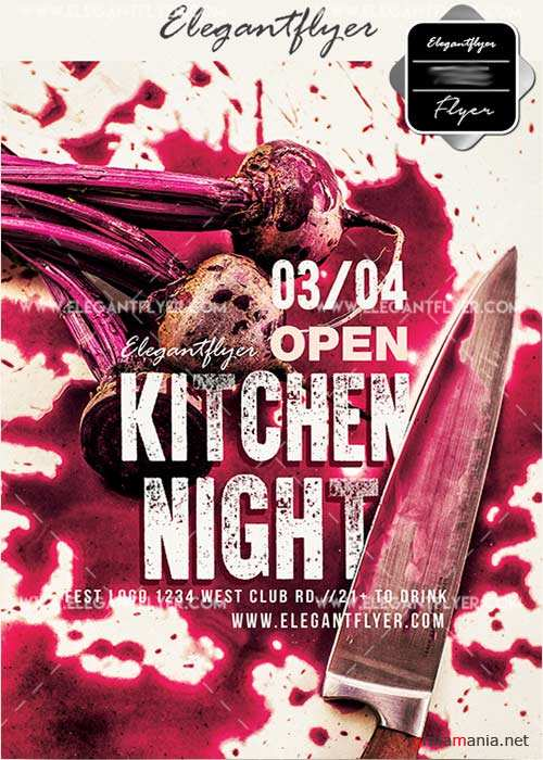 Kitchen night V15 Flyer PSD Template + Facebook Cover