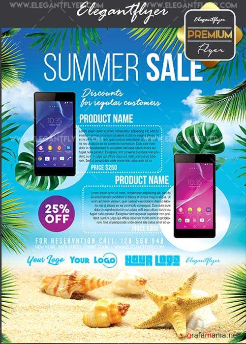Summer Sale V15 Flyer PSD Template + Facebook Cover