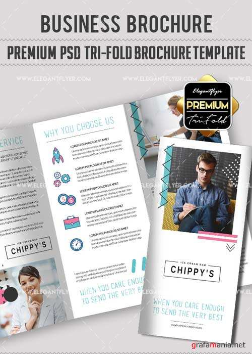 Business V44 Premium Tri-Fold PSD Brochure Template