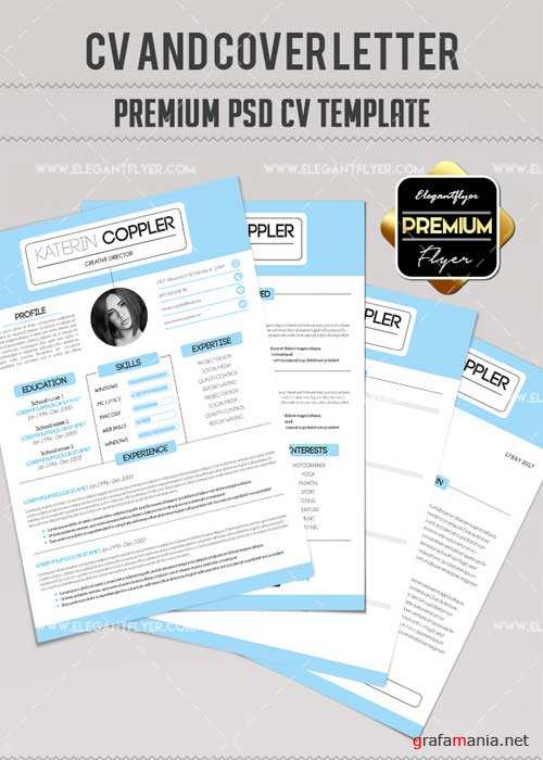 CV V41 Premium CV and Cover Letter PSD Template