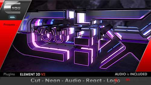 Cut Neon Audio React Logo - Project for After Effects (Videohive)
