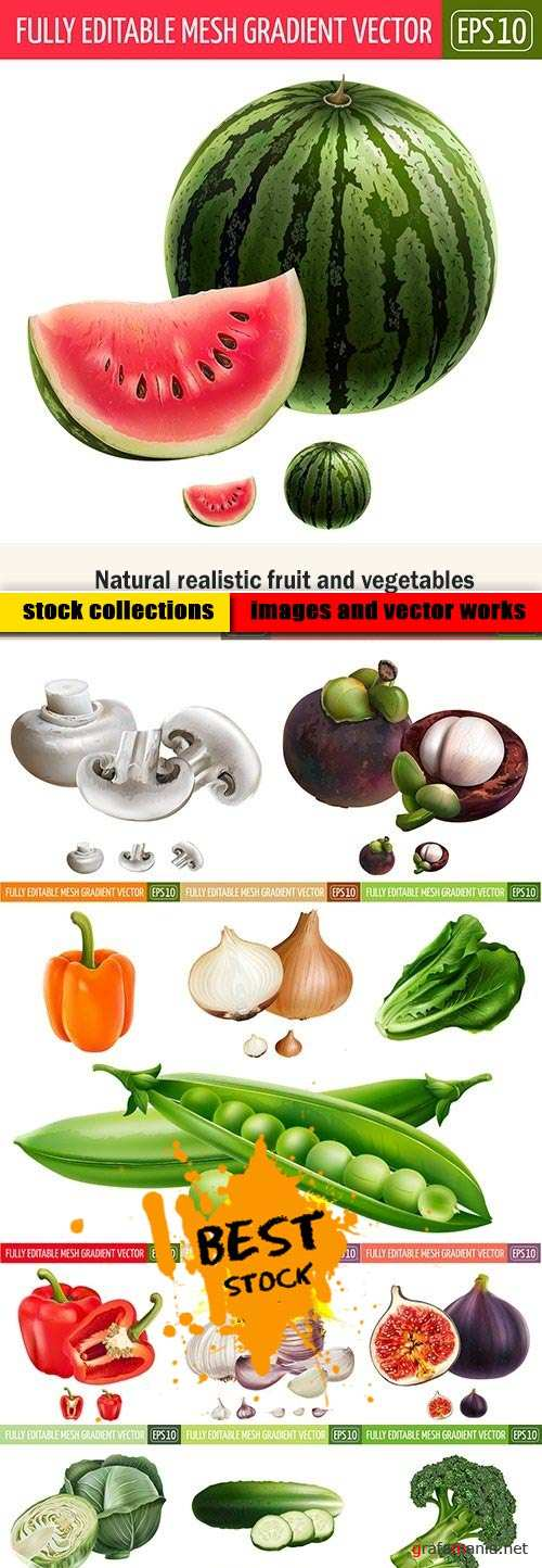 Natural realistic fruit and vegetables