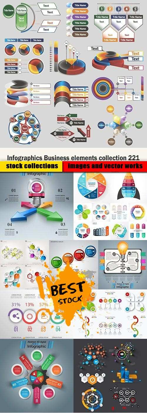 Infographics Business elements collection 221