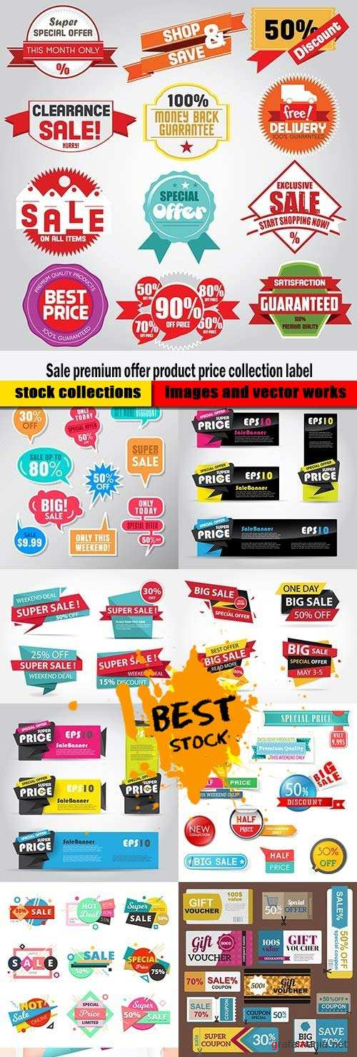 Sale premium offer product price collection label