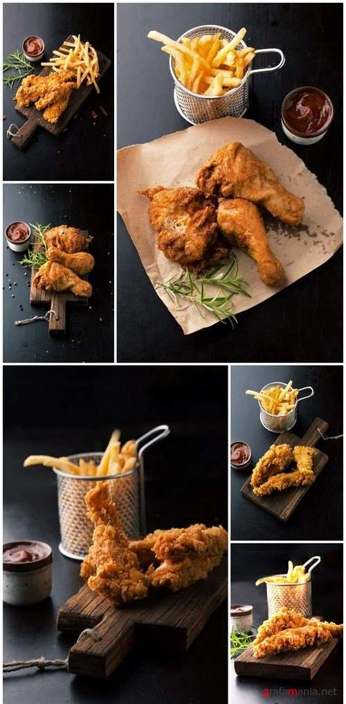Fried chicken legs with fried potatoes - 6xUHQ JPEG