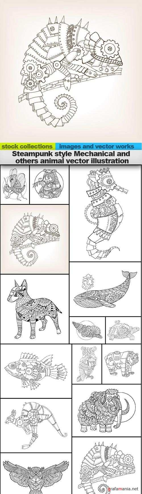 Steampunk style Mechanical and others animal vector illustration, 15 x EPS