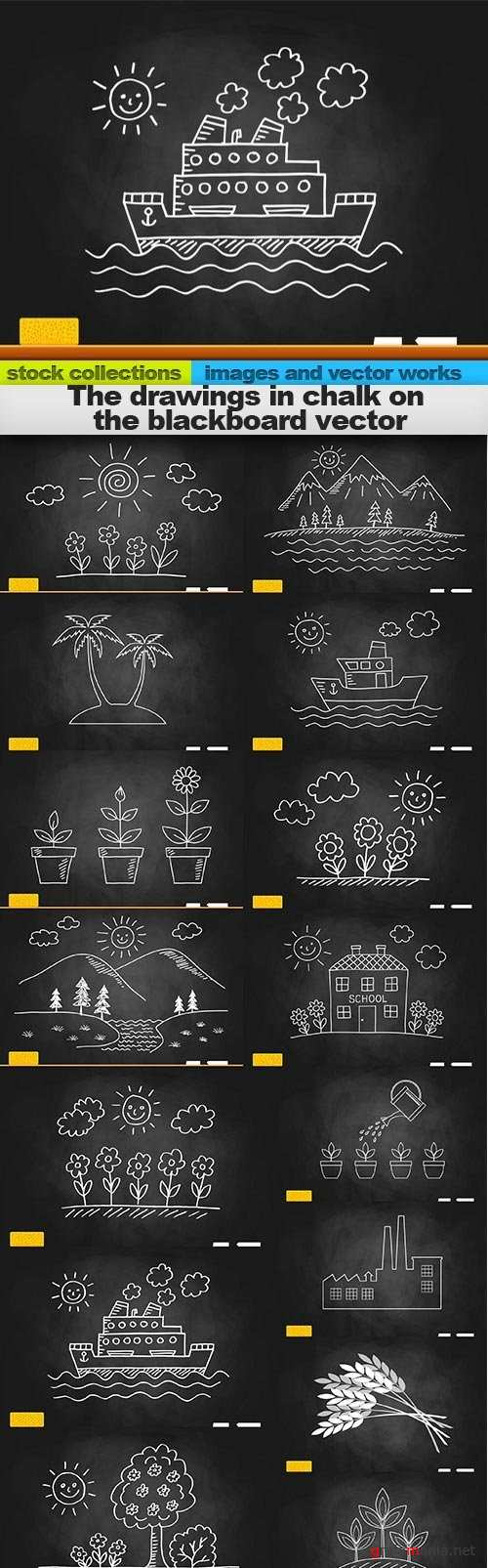 The drawings in chalk on the blackboard vector, 15 x EPS