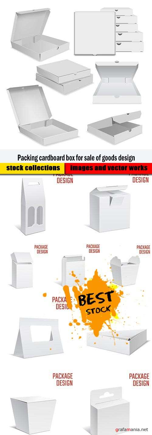 Packing cardboard box for sale of goods design