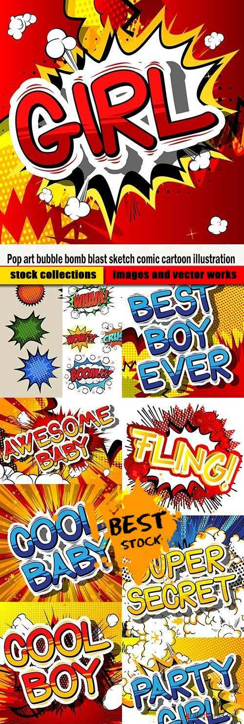 Pop art bubble bomb blast sketch comic cartoon illustration