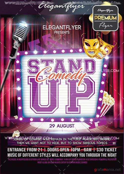 Stand Up V22 Flyer PSD Template + Facebook Cover