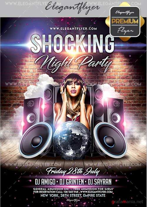 Shocking Night V02 Flyer PSD Template + Facebook Cover
