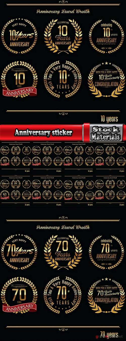 Anniversary sticker of the coat of arms icon number of a monogram frame 10 EPS