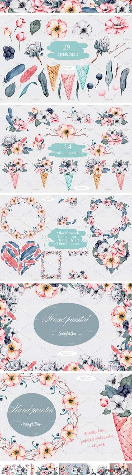 Floral Icecream Big Watercolor Set - 1583114