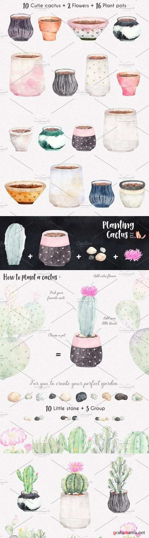 Planting Cactus Watercolor Clipart 1545810