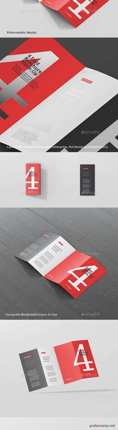 4-Fold Brochure Mockup - DL 99x210mm 20183322