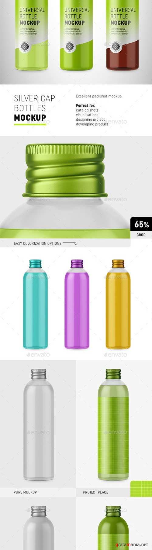 Bottles with Silver Cap Mockup 20234390