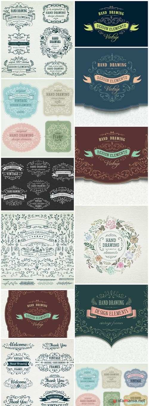 Hand Drawn Vintage Frame - 12 Vector