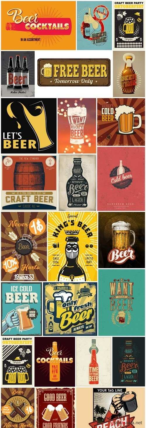 Retro Vintage Beer Poster - 25 Vector