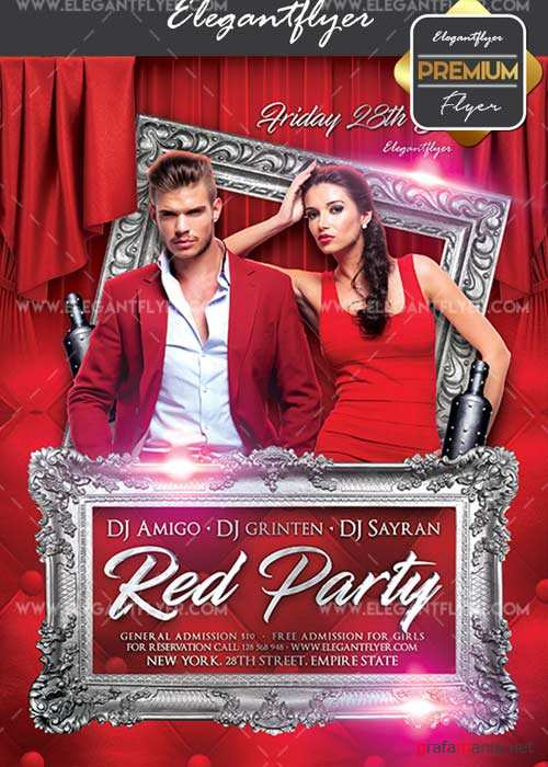 Red Party V02 Flyer PSD Template + Facebook Cover