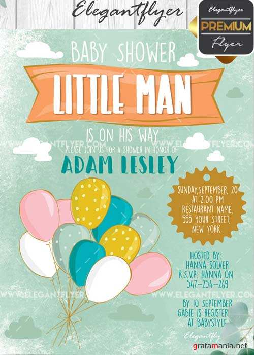 Baby Shower V05 Flyer PSD Template + Facebook Cover
